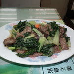 Stir fried beef with oyster sauce, and vegetable