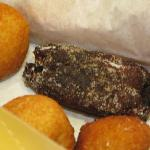 rellenitos, it's made from plantains and black bean, so it's black