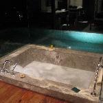 bath and pool at night