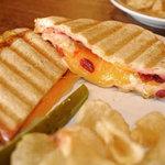 Deli Bean's Wisconsin grilled cheese panini sandwich.