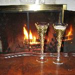 Champagne by the fireplace :)