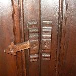 Elaborate locking mechanism on bathroom door!