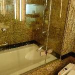 バスルーム(なぜか半分だけの透明板)