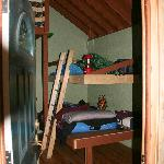 Entering Tree House, view of 2 of the large bunks.