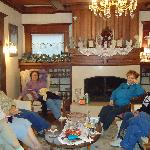 The group relaxed in the living room after a blustery walk along the Jetty