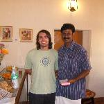 Biju with a client