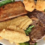 Field 'n Stream Platter-- Award Winning Catgfish Fillets, Ribs, and a Ribeye Steak