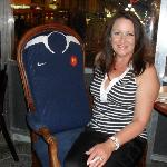 charmian sitting in french rugby chair