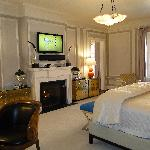 television and fireplace in Princess Suite