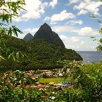 The famous Pitons and village