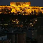 view of the Acropolis from the hotel rooftop bar