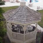 The gazebo by the pool