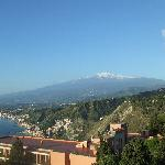 Wonderful view of Etna from our hotel balcony