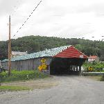 Bath Covered Bridge with view to Bath Congregational Church