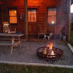 dog outside cabin
