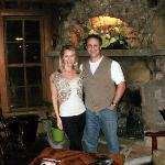 Headed to the great restaurant and enjoying the lobby fireplace.
