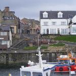 Harbour looking back to the Bamburgh Castle Inn and the Olde Ship pub