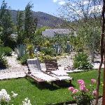 Schöner Garten mit Sitzgelegenheit