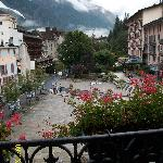 view of mont blanc  and Chamonix from balcony