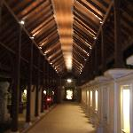 Walkway to reception at night