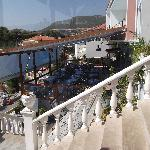View from general sitting area across hotel restuarant and down to the beach