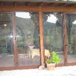 glass doors open to patio