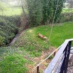 Vista de las habitaciones a un pequeño arroyo que atraviesa la finca