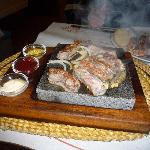 Steak on a hot stone