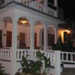 View of the front of the villa in the evening