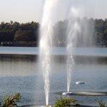 Fountain between Beautiful Mansar Lake