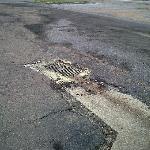 Potholed parking lot