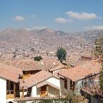 Blick auf Cusco von Dachterrasse