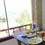 Breakfast with outside view