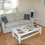 Living room of one-bedroom cottage