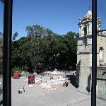 View of the zocalo from our room- the sand paintings are being made for Day of the Dead
