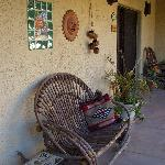 Seating overlooking cactus garden outside rooms