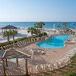 Pelcian Beach pool and view to the Gulf