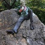 Statue of Oscar Wilde in a beautiful Dublin park near the National Library