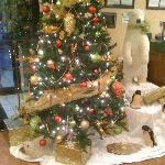 The lobby decorated for Chritmas time!
