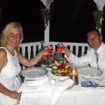 Dinner in the wedding gazebo