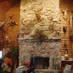 Large fireplace in main lodge.