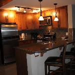 Kitchen and counter eating area