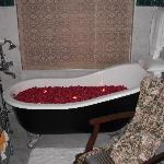 Bath filled with rose petals and candles while we were out