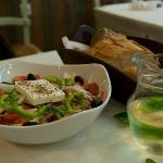 A loaf of bread, a jug of wine,...and Greek salad!