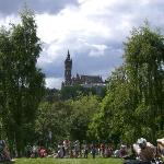 View of Glasgow University from the park.