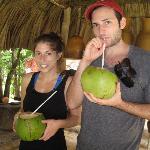 Drinking fresh coconut