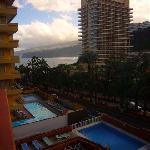 Balcony view of pool & sea