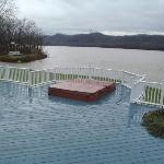Large hot tub on the deck overlooking the Ohio River