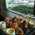 afternoon tea set with the view