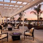 Outdoor fire pits and Marina del Rey sunset